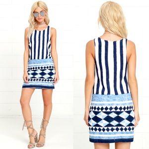 Lulus Ivory and Blue Print Shift Dress